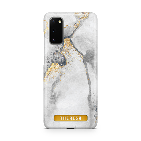 Gold Spec Marble Monogram Phone Cover