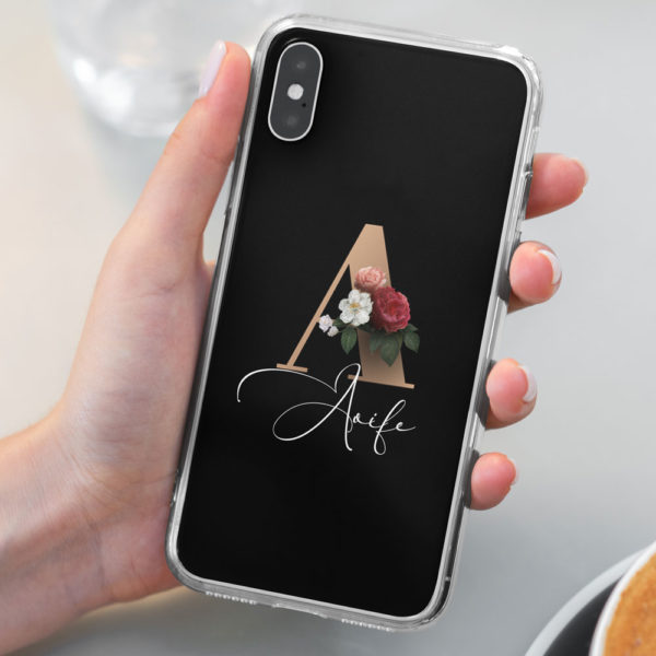 Floral-Initial-iphone-case